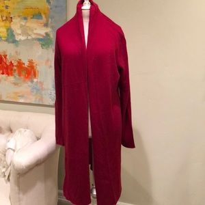 White + Warren Sweaters - Cashmere Red Long Trapeze Sweater